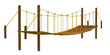 Rope bridge, isolated on the white background
