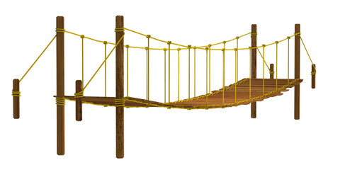 Rope bridge, isolated on the white background