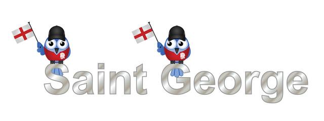 Saint George text and patriotic bird waving flag