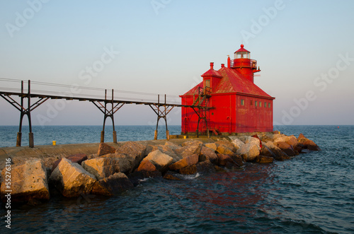 Foto op Plexiglas Grote meren Sturgeon Bay Ship Canal Pierhead Lighthouse, Wisconsin, USA