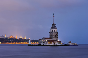 Leandre Tower in twilight -Kız Kulesi-Maiden's Tower-Istanbul