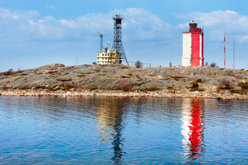 Square red and white lighthouse