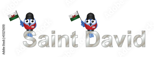 Saint David text and patriotic bird waving flag