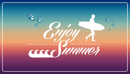Retro summertime vacations poster.