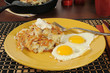 Latkes and fried eggs