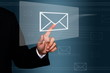 businessman touch on e-mail