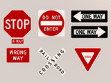 Traffic signs 3D render image