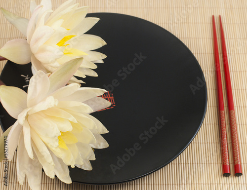 Chinese pottery plate and waterlilies