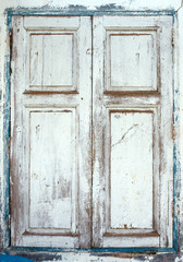 Wooden window shutters - Closed old shuttered weathered