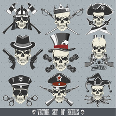 Vector set of skulls