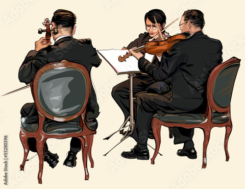 Three musicians of classic orchestra