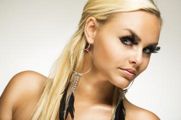 Beautiful glamorous woman with false eyelashes