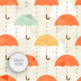 Umbrella, rain drops and clouds. Vector illustration