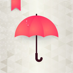 Umbrella, rain drops and clouds. Vector illustration
