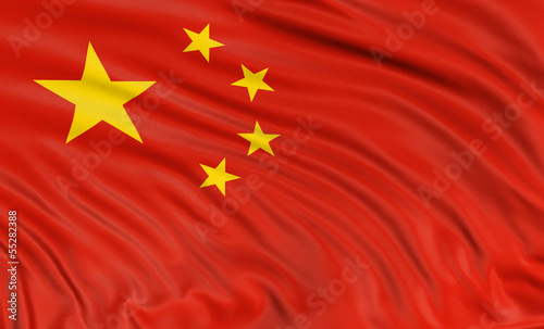 3D Chinese flag (clipping path included)