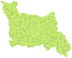Map of Lower Normandy - France - in a mosaic of green squares