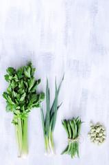Fresh healthy vegetables shot overhead