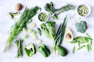 Fresh healthy green vegetables overhead