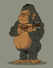 gorilla playing guitar