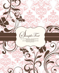 pink vintage damask invitation card