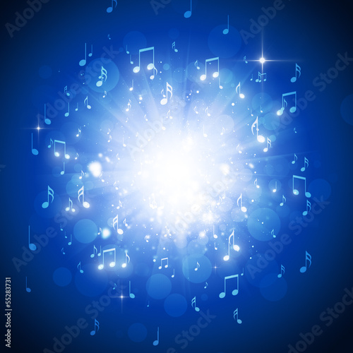 Music Notes Blue Background