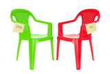 Green and red chair for debate