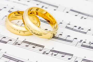 Golden rings on the  sheet music