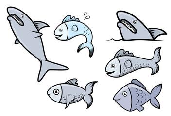 Fish Set - Vector Cartoon Illustration