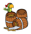 Treasure and Pirate Parrot - Vector Cartoon Illustration
