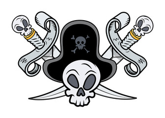 Pirate Sign - Crossed Swords and Skull - Vector Illustration