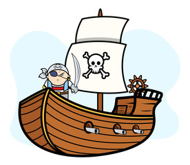 Eye Patched Captain Pirate on Pirate Ship - Vector Illustration
