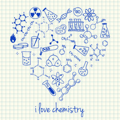 Chemistry drawings in heart shape
