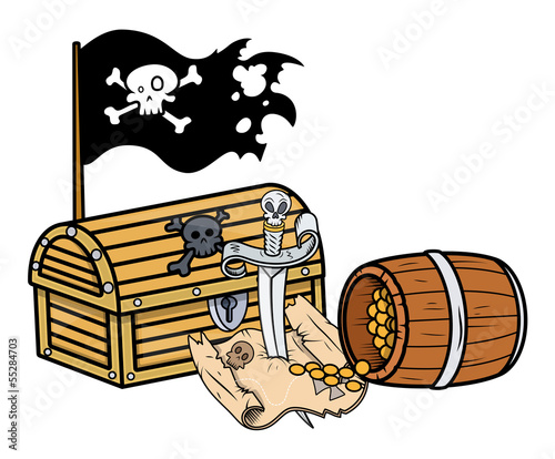 Pirate Treasure - Vector Cartoon Illustration