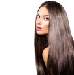 Long Healthy Straight Hair. Model Brunette Girl Portrait