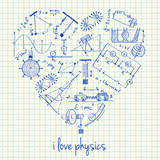 Physics drawings in heart shape poster