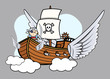 Flying Pirate Ship - Vector Cartoon Illustration