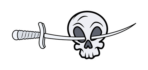 Skull with Sword in Eyes - Vector Cartoon Illustration
