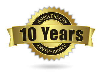 """10 Years Anniversary"" - golden stamp with ribbon, Vector EPS 10"