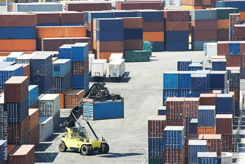 Cargo container boxes in dock terminal