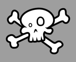 Cartoon Crossed Skull - Vector Cartoon Illustration