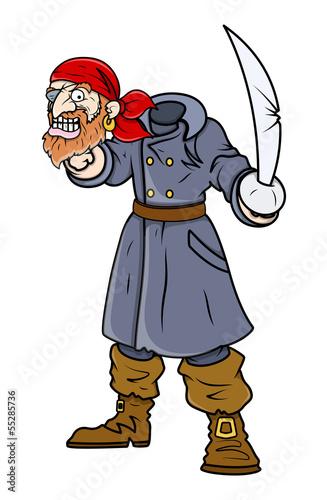Beheaded Captain Pirate - Vector Cartoon Illustration