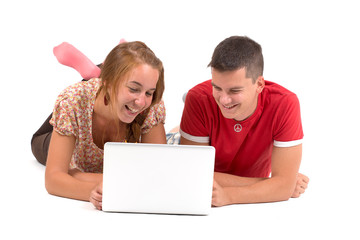 Young boy and girl with laptop computer