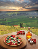 Italian pizza in Chianti, Tuscany landscape, Italy