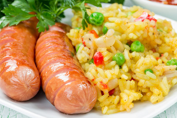 Rice with two sausages