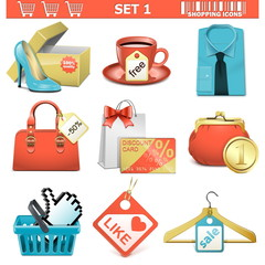 Vector shopping  icons set 1