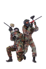 Studio shot of two paintball players over white background