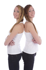 Two girls twins in casual clothes