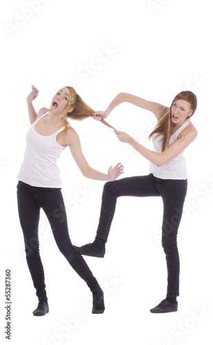 Gemini sisters fighting on a white background