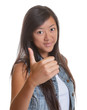 Young asian woman showing right thumb up