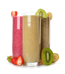 Smoothies strawberry, banana and kiwi